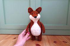 Fox baby music box needle felted animal fox toy felt baby toy