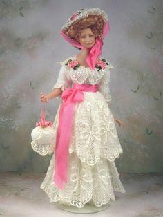 1 12th Scale Miniature Victorian Edwardian Porcelain Woman Doll by Terri Davis | eBay