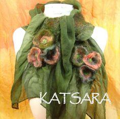 Vavoosh Flower Scarf Nuno Felt Merino Silk with ruffly by Vavoosh, $72.00