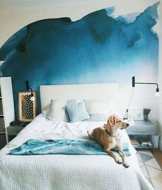 wallpaper design ideas blue room watercolor paper from anewwall.com