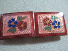 Vintage Antique Guilloche Cloisonne Enamel Flower Floral Belt Buckle Beauty
