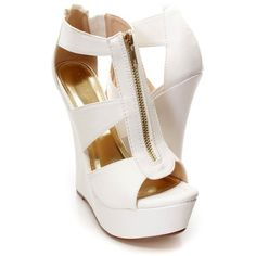 White Strappy Front Zipper Platform Wedges Faux Leather ($45) ❤ liked on Polyvore featuring shoes, peep toe sandals, strappy platform sandals, strappy sandals, white wedge sandals and platform sandals