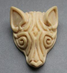 Anhänger Wolf Wolfskopf Mammut Bein Pendant Wooly Mammoth carving
