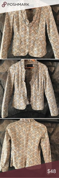 """🎭BANANA REPUBLIC🎭 RUFFLED PAISLEY JACKET🎭 This is a tan blue cream ruffle printed jacket by our beloved banana republic!! Eye and hook closure  down the front a total of four all intact. Two working pockets still sewn together from manufacturer, long sleeve. 100% cotton measurements taken flat bust 17 1/2"""", waist 14 1/2"""" length 21""""🎭BANANA REPUBLIC🎭 RUFFLED PAISLEY JACKET🎭 Banana Republic Jackets & Coats Blazers"""