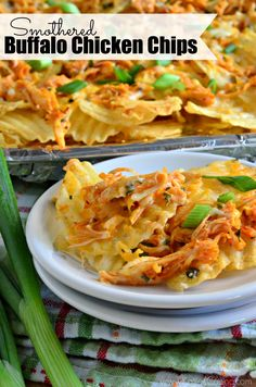 Easy game day snack -- Smothered Buffalo Chicken Chips. The perfect appetizer for any party!!