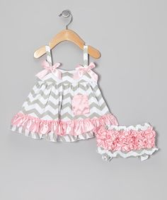 Take a look at this Pink & Gray Zigzag Swing Top & Bloomers - Infant on zulily today!