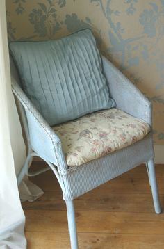 Duck egg blue Lloyd Loom chair