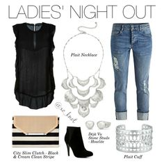 Stella & Dot | Ladies' Night Out | Everyone needs a girlfriend date! These silver pieces will be the talk of the night! Shown: Plait Necklace, Plait Cuff, Deja Vu Studs Howlite, City Slim Clutch #PolyvoreByXOKnot #StelladotStyle #Stelladot #Fashion #FashionTrends #WomensFashion #Outfits #Shopping