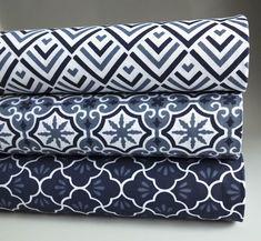 Geometric Tile & Trellis Navy Blue & White 100% Cotton Poplin Printed Fabric | eBay