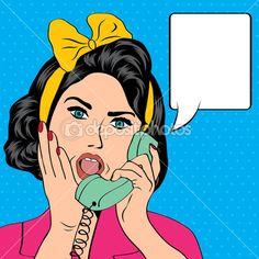 Femme chat sur le téléphone, le pop art illustration