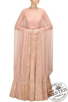 Astha Narang presents Peach sequins and beads embroidered lehenga set available only at Pernia's Pop-Up Shop. Bridal Lehenga Online, Pakistani Bridal Dresses, Indian Dresses, Indian Outfits, Indian Clothes, Engagement Dresses, Wedding Dresses, Wedding Outfits, Salwar Kameez