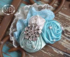 Tiffany Blue and Cream Satin Hair Accessory  by SweetFaithDesigns, $15.50