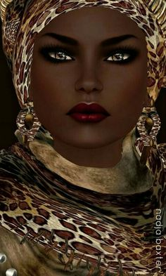 """Black art-Nubian Queen"" by Nadja Baxter. African American Art, African Art, African Prints, African Style, African Fabric, African Women, My Black Is Beautiful, Beautiful Eyes, Stunningly Beautiful"