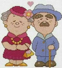 Cross stitch old man and women grandparents etamin yaşlı çift