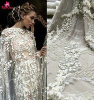 China manufacturer wholesale high quality white hand beaded lace fabric 3d lace fabric french lace https://app.alibaba.com/dynamiclink?touchId=60517845050