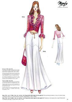 Fashion Design Sketchbook, Fashion Design Drawings, Fashion Sketches, Moda Vintage, Vintage Mode, Fashion Pants, Fashion Dresses, Fashion Tape, Fashion Design Template