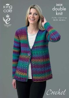 Crocheted cardigan made in King Cole Riot DK. To fit sizes the pattern was published by King Cole Ltd. Jumpers For Women, Cardigans For Women, Knitting Patterns, Crochet Ideas, Crochet Projects, Free Crochet, Best Cardigans, Crochet Buttons, Gowns