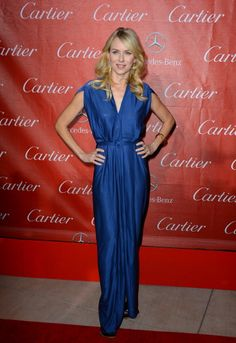 Naomi Watts arrives at the 24th annual Palm Springs International Film Festival Awards Gala on January 5, 2013 in a custom cap sleeve royal blue Roland Mouret belted gown; #Palm #Springs Convention Center