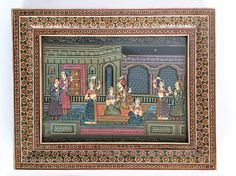 Vintage Persian Hand Painted Picture Intricate Khatam-Kari