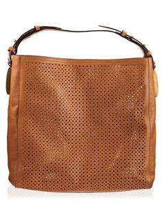 Coccinelle Spring Summer 2017 Collection Nina Camel Perforated Vitello Unlined Leather Shoulder Hobo Bag
