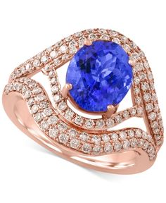 Tanzanite Royale by Effy Tanzanite (2-5/8 ct. t.w.) and Diamond (9/10 ct. t.w.) Ring in 14k Rose Gold