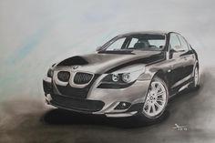 BMW 5er Gezeichnet auf DIN A2 Layoutpapier. (Marker, Buntstift, Kreide, Fineliner)               gez. 07.2012