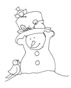 Free Dearie Dolls Digi Stamp Of Little Snowman Wearing His Tophat Because 3 Birdie Friends Have Come For A Visit
