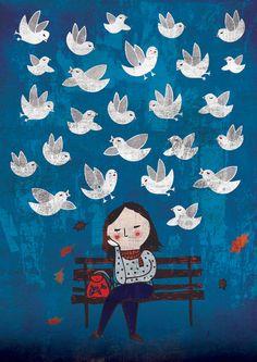 Een hoofd vol gedachten. Of boeken. Of vogels... Schilderij van Eszter Schall. Wie dat ook moge zijn.