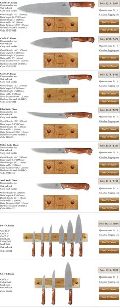 Neemantools Elmax Kitchen knives. Sold seperately and has optional sets. Set of 6 is $1995. I want these for my future butchering set up.