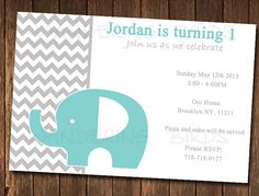 Elephant birthday Invitation by WanderingBirds on Etsy, $6.00