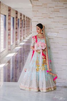 Stunning tiffany blue and pink bridal lehenga for wedding. Indian Bridal Outfits, Indian Bridal Fashion, Indian Dresses, Bridal Dresses, Party Dresses, Reception Dresses, Bridesmaid Dresses, Indian Clothes, Pakistani Dresses