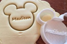 Mickey Mouse PERSONALIZED cookie and fondant cutter Micky Maus personalisierte Cookie und Fondant-cutter von ThreeDGeek Mickey Mouse Cupcakes, Minnie Mouse Party, Mickey Mouse Cookie Cutter, Mickey Party, Cookie Cutters, Mickey Cakes, Mouse Cake, Mickey Mouse Treats, Bolo Mickey