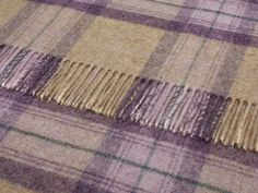British Wool Skye Mauve Check Throw 140x185cms - Wool Throws - Shop By Colour Sofa Throws