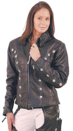 Western Leather Jacket with Conchos and Studs #L5076SZK