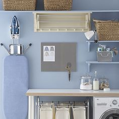 Inexpensive Storage - wall mounted ironing board is a great idea :)