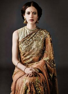 Kalki Koechlin gliter gold sequin sari saree South Asian Indian desi fashion bollywood