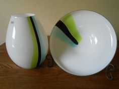 Sasaki Handcrafted Vase and Bowl. Art Glass White, Chartreuse,Aqua and Black Mid Century Design. Fine Quality Art Glass that I have read was