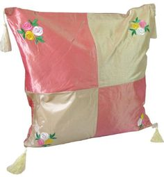 Thaimart Beautiful Single Cover Pillow Beautiful Flower Throw Cushion Cover/pillow Case Handmade By Satin and Thai Silk for Decorative Sofa, Car and Living Room Size 16 X 16 Inches by Thaimart Pillow. $7.99. Vivid decorative accessory will add any sofa, car and living room.. Satin & Thai silk. Revive the old pillow look the brilliant than the original.. Size 16 x 16 inches (Cushion cover only, Without Pillow).. Full-length hidden zipper allows for easy insertio...