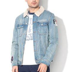 Jacheta din denim – cu guler cu captuseala din material teddy