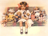 dolls/ this looks like the many dolls you had around you when you went to sleep