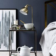 Amazing Black and White Bedroom Decor Renovation - Best Home Ideas and Inspiration Hicks Blue Little Greene, Little Greene Paint, White Bedroom Decor, Blue Bedroom, Bedroom Ideas, Bedroom Wall, Living Colors, Moroccan Cushions, Sweet Home