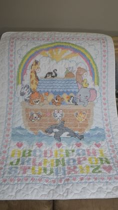 Cross Stitched Noah's Ark Baby quilt