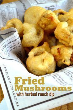 fried food appetizers mushroom recipe Beer Battered Mushrooms with Herbed Ranch Dip Battered Mushrooms, Breaded Mushrooms, Stuffed Mushrooms, Deep Fried Mushrooms, Appetizer Recipes, Snack Recipes, Cooking Recipes, Snacks, Appetizers