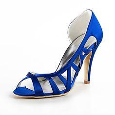 Satin Women's Wedding Stiletto Heel Open Toe Sandals Shoes(More Colors) – EUR € 34.99