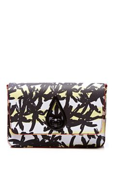 Shop Printed Textured Leather Clutch by Kenzo Now Available on Moda Operandi