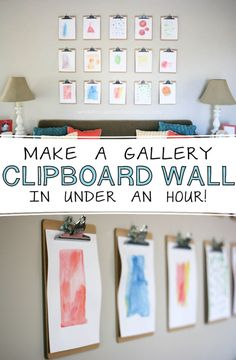 Easy Gallery Clipboard Wall | Easy Home Decor DIY Projects by DIY Ready at http://diyready.com/diy-home-decor-under-an-hour/