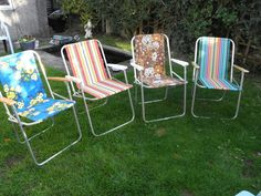 4 x Miss Matched Vintage Folding Garden Patio Picnic Camping Chairs Aluminium