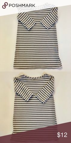 2be6c52d1c8 2  20 Old Navy Gray Striped Cotton Dress Simple 3 4 sleeve lightweight  cotton
