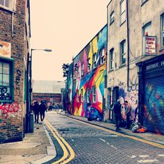 Colourful streets in Shoreditch, London.