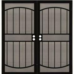 Gatehouse 69-1/2-in x 81-in Gibraltar Black Steel Security Door